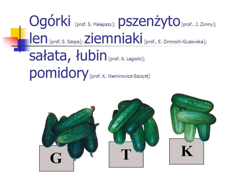 Ogórki [prof. S. Malepszy]; pszenżyto [prof. J. Zimny]; len [prof. S
